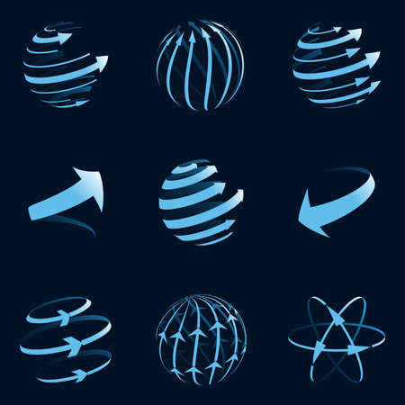 orbit: Global arrow icons. Vector illustration.