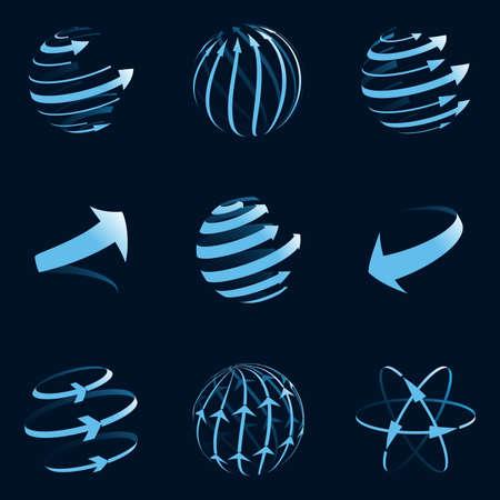 communicatie: Global pijlpictogrammen. Vector illustratie. Stock Illustratie