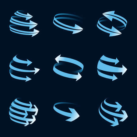 一組抽象的全球箭頭圖標。