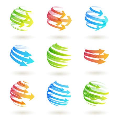 一套抽象colordul箭頭圖標。 向量圖像