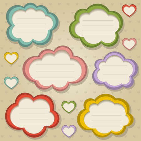 papel scrapbook: Un conjunto de ilustraci�n colorido marcos retro