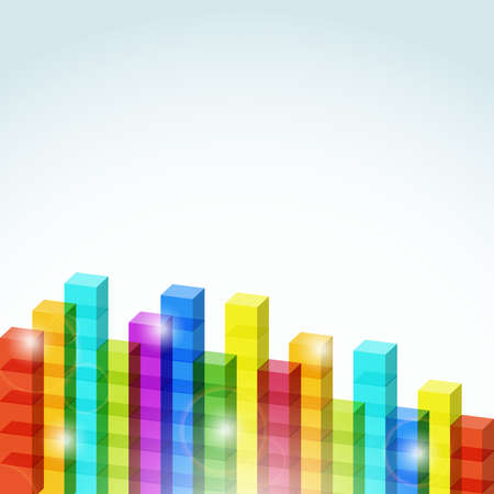 Abstract background with colored transparent cubes. Vector