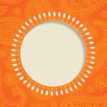 paisley background: Orange  frame with  paisley pattern illustration