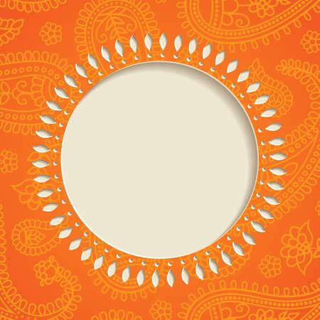 paisley background: Orange  frame with  paisley pattern illustration