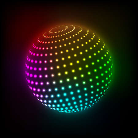 Abstract Bright ball icon on a dark background. Vector illustration. Eps10 Vector