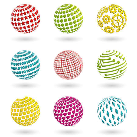 Set of abstract colorful planet icons. Vector illustration. Vector
