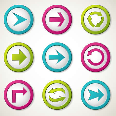 Set of colorful arrow buttons. Stock Vector - 13513656