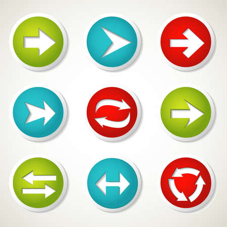 buttons vector: Set of colorful arrow buttons. Vector illustration.