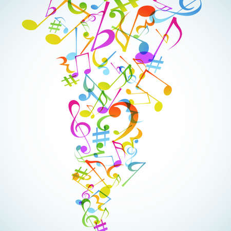 rainbow music: A bright Music ba&ntilde,kground with notes.