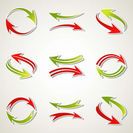 Set of abstract colorful arrow icon. Vector illustration. Stock Vector - 13513650