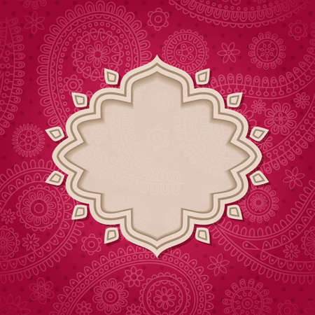 幀中的印度風格與佩斯利花紋背景。矢量插圖。 向量圖像