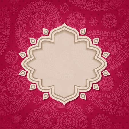 east indian: Enm�rquelo al estilo indio en el fondo con patr�n de Paisley. Vector ilustraci�n.