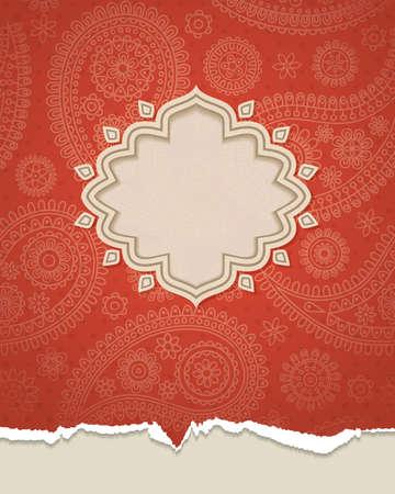 east indian: Enmarcar en el estilo indio en el fondo con patr�n de Paisley. Ilustraci�n del vector.