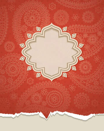 red indian: Frame in the Indian style in the background with paisley pattern. Vector illustration.