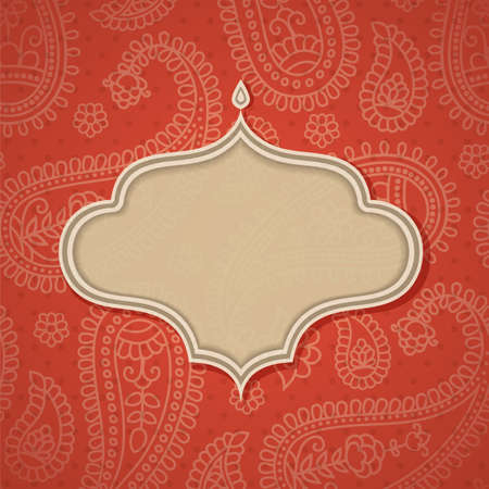 east indian: Frame in the Indian style in the background with paisley pattern. Vector illustration.