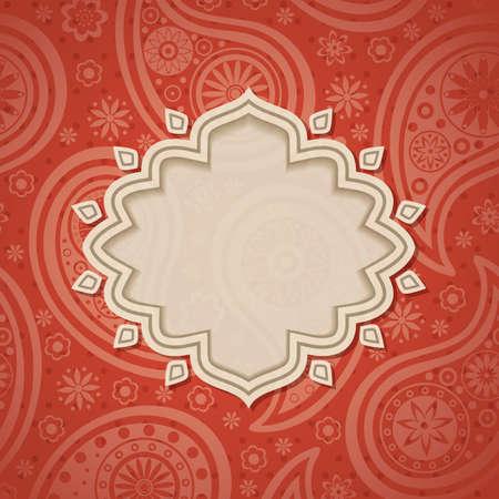 印度風格的背景與佩斯利花紋幀。