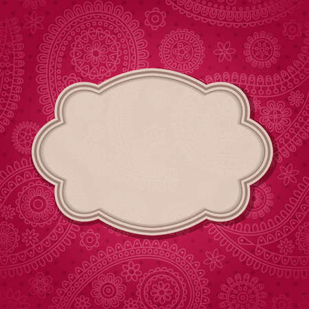 Frame in the Indian style in the background with paisley pattern. Vector