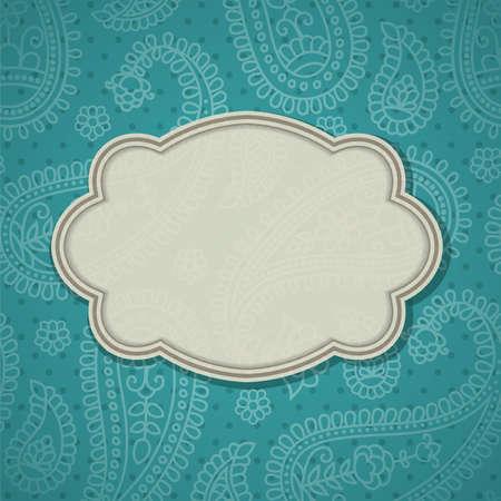 disegni cachemire: Cornice in stile indiano in background con disegno paisley.