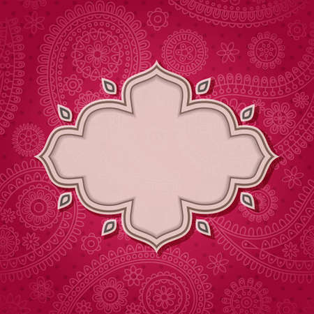 幀中的印度風格與佩斯利圖案的背景。向量插圖。 EPS10。