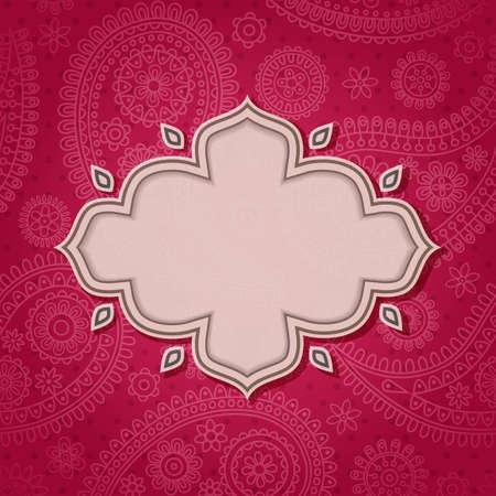 indianin: Ramka w stylu indyjskim w tle z paisley wzór. Ilustracji wektorowych. Eps10. Ilustracja
