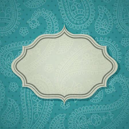 indien muster: Frame im indischen Stil im Hintergrund mit Paisley-Muster. Illustration