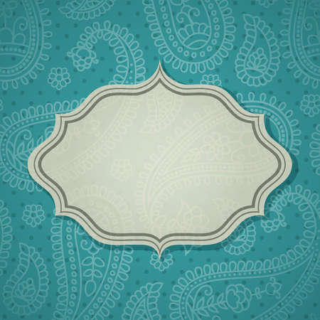 indian blue: Frame in the Indian style in the background with paisley pattern.
