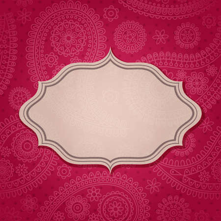 pink swirl: Frame in the Indian style in the background with paisley pattern.