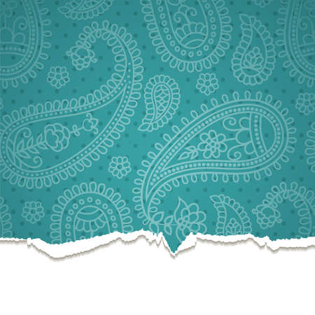 Torn paper with a paisley pattern. Vector    illustration. Eps10. Vector
