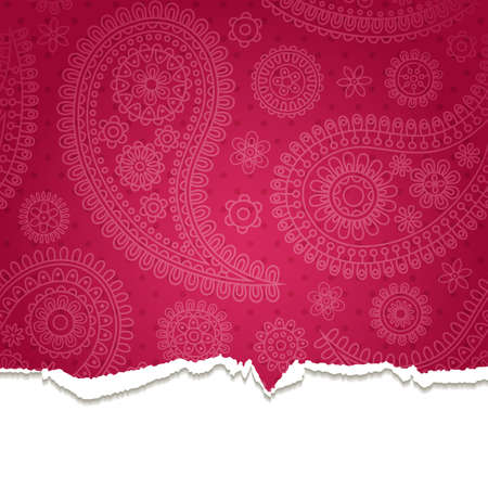 color separation: Torn paper with a paisley pattern.