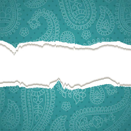 Torn paper with a paisley pattern. Vector