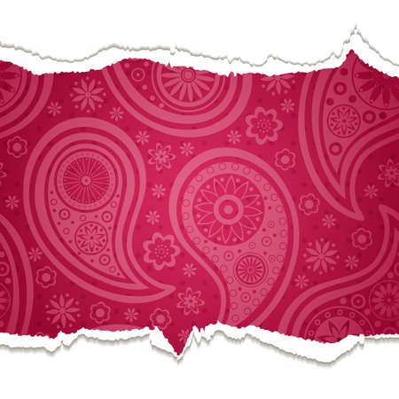 Torn paper with a paisley pattern. background. Vector