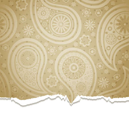 Torn paper with a paisley pattern. illustration.  Vector