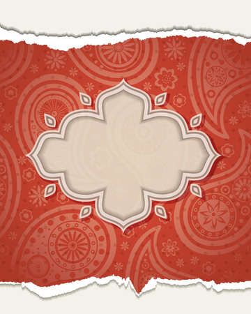Frame in the Indian style in the background with paisley pattern.  illustration.
