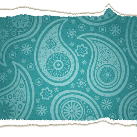 label frame: Torn paper with a paisley pattern. illustration.