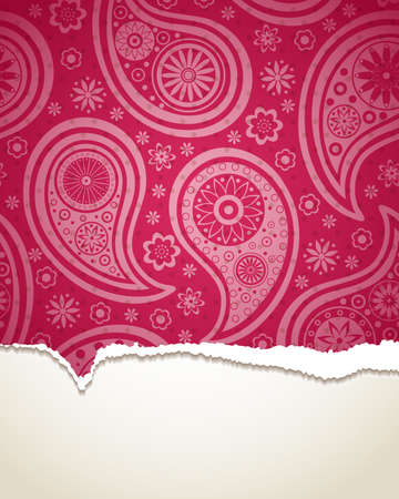 color separation: Torn paper with a paisley pattern. illustration.
