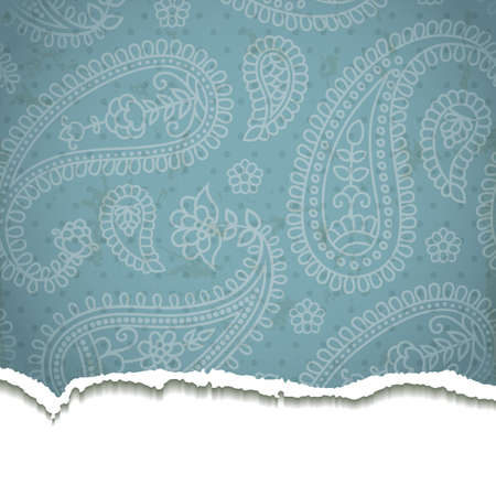 Torn paper with a paisley pattern. illustration.