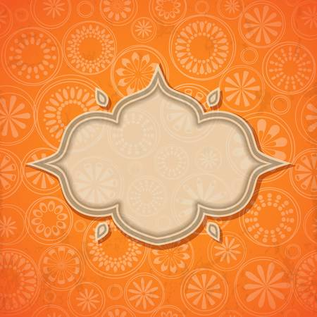 indian design: Frame in bright retro seamless background. Illustration
