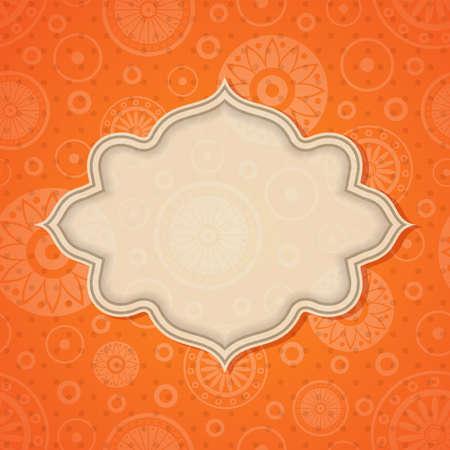 motif indiens: Cadre en fond lumineux homog�ne r�tro.