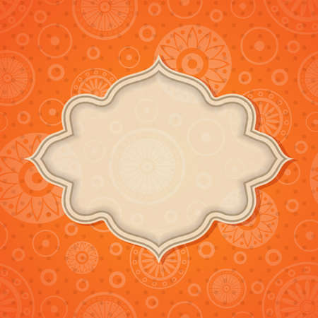 indian pattern: Frame in bright retro seamless background. Illustration