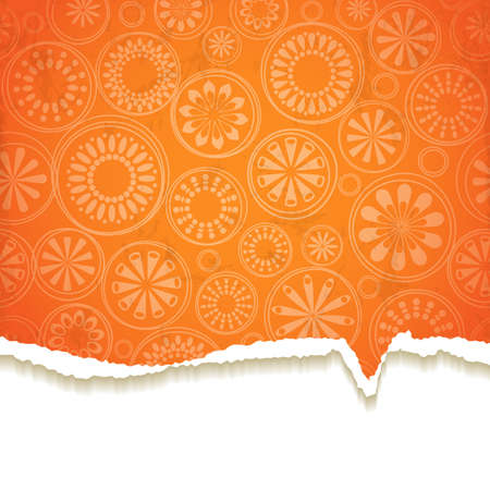 Bright torn paper with a floral pattern.  Vector