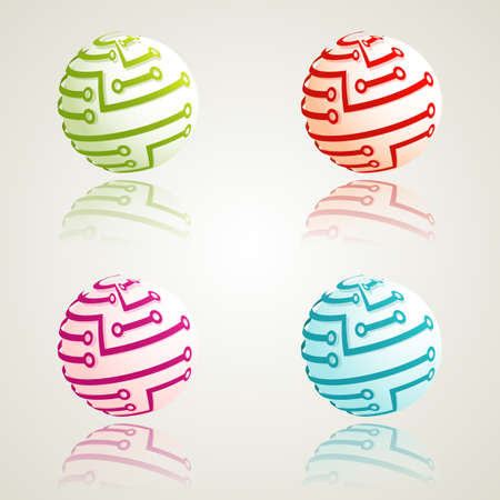 A set of 3d digital icons. Vector illustration. Illustration