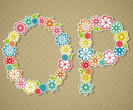 Floral Alphabet in retro style Vector