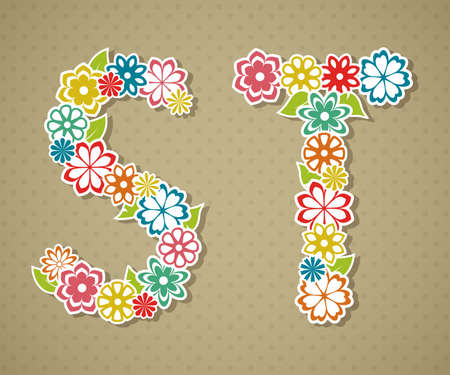 Floral Alphabet in retro style
