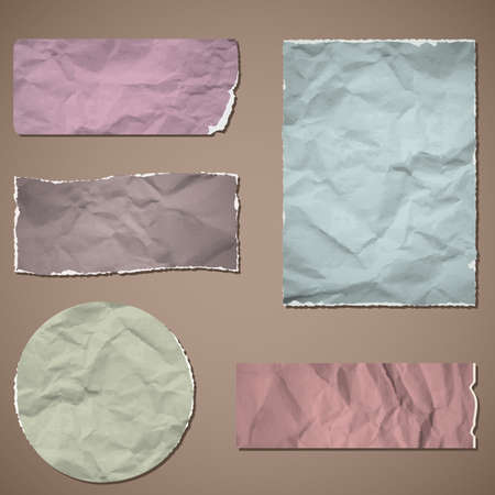A set of templates of old crumpled paper. Vector illustration. Eps10. Vector