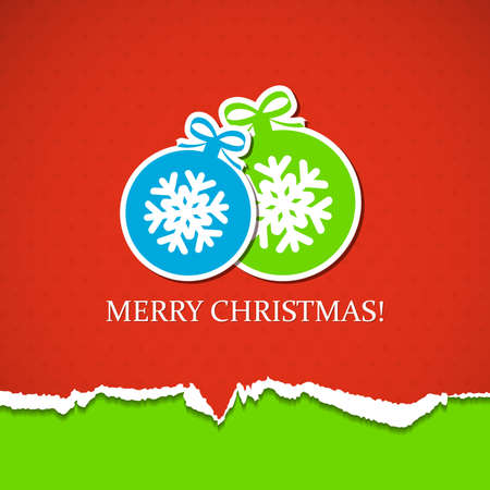 Red Christmas background with balls.  Vector