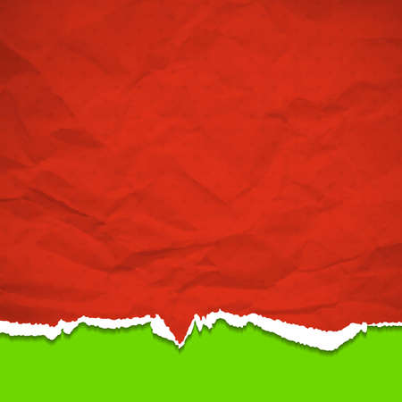 Red torn paper on a green background.  Vector
