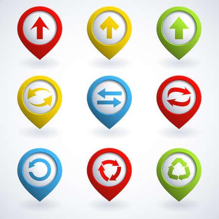 3d cursor: Set of colorful arrow buttons.