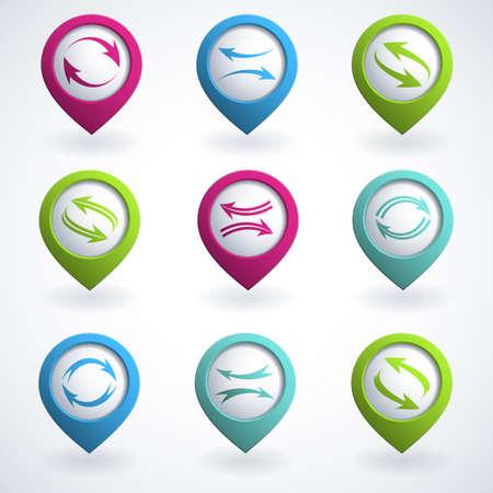simbol: Set di pulsanti colorati freccia. Vettoriali