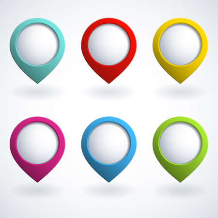 menu button: Set of colorful 3d buttons Illustration