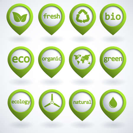 pollution free: Set of 3d ecology buttons.